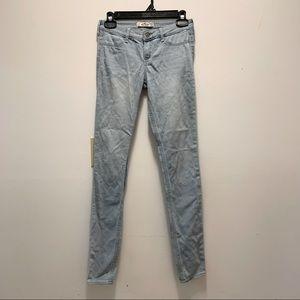 Hollister 1L 25x31 Stretchy Skinny Jeans Extra Long Light Wash EUC